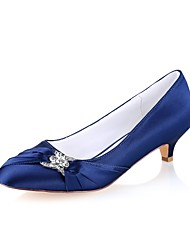 cheap -Women's Shoes Stretch Satin Spring / Fall Basic Pump Wedding Shoes Kitten Heel Round Toe Crystal Dark Blue / Party & Evening
