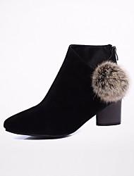 preiswerte -Damen Schuhe Nubukleder Frühling Herbst Komfort Stiefeletten Stiefel Blockabsatz Booties / Stiefeletten für Normal Schwarz Grau Kamel