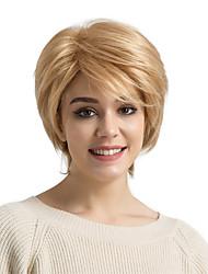 Недорогие -Человеческие волосы без парики Натуральные волосы Прямой Стрижка каскад Стрижка под мальчика Боковая часть Короткие Машинное плетение