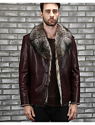 cheap -Men's Going out Casual/Daily Street chic Winter Fall Leather Jacket,Solid Shirt Collar Long Sleeve Regular Polyester Fur Trim