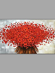 preiswerte -Hang-Ölgemälde Handgemalte - Landschaft / Blumenmuster / Botanisch Klassisch / Modern Segeltuch / Gestreckte Leinwand