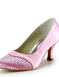 cheap -Women's Shoes Silk Spring / Summer Basic Pump Wedding Shoes Low Heel Closed Toe Rhinestone Pink / Party & Evening