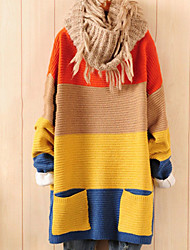 preiswerte -Damen Langarm Lang Pullover-Einfarbig