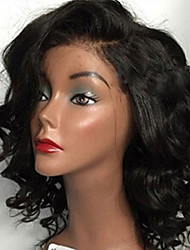 cheap -Virgin Human Hair Lace Front Wig Brazilian Hair Wavy With Baby Hair 130% 150% 180% Density African American Wig Short Medium Long Women's