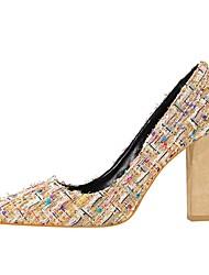 abordables -Femme Chaussures Similicuir Printemps Automne Confort Chaussures à Talons Talon Bottier Bout pointu Paillette pour Habillé Noir Amande