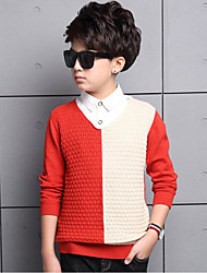 cheap -Boys' Solid Colored Block Sweater & Cardigan