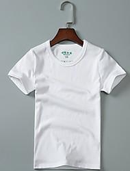 abordables -Tee-shirts Fille Couleur Pleine Coton Eté Manches Courtes simple Vert Blanc Noir Gris Foncé Gris Clair