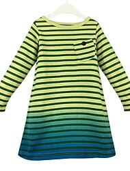 cheap -Girl's Daily Color Block Stripes/Ripples Dress, Cotton Spring Fall Long Sleeves Casual Princess Yellow