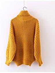 Недорогие -Жен. Однотонный На каждый день Вязаная ткань Пуловер, Повседневные Длинный рукав Круглый вырез Зима