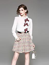 cheap -Women's Going out Sexy Street chic Print Round Neck Skirt Regular, Long Sleeves Spring Summer