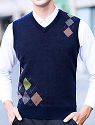 preiswerte -Herrn Solide Alltag Freizeit Pullover Ärmellos V-Ausschnitt Winter Herbst Polyester
