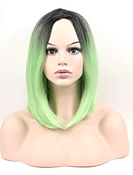 abordables -Perruque Synthétique Droit Coupe Carré Perruque afro-américaine Cheveux Colorés Vert Femme Sans bonnet Perruque de fête Perruque Naturelle