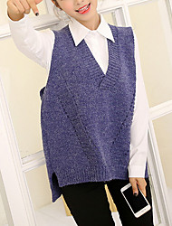 economico -Per donna Manica lunga Cashmere Lungo Cardigan Tinta unita A V
