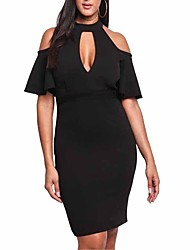cheap -Women's Flare Sleeve Bodycon Sheath Dress - Solid Color, Cut Out High Waist Halter