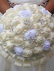 abordables -Fleurs de mariage Bouquets Mariage Perle Cristal/Strass Satin 25cm