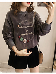 cheap -Women's Going out Sweatshirt - Solid Colored / Letter, Floral Style / Print