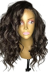 cheap -Human Hair Lace Front Wig / Glueless Lace Front Wig Brazilian Hair Wavy / Body Wave / Natural Wave 150% Density With Baby Hair / Natural Hairline / Side Part Women's Medium Length Human Hair Lace Wig
