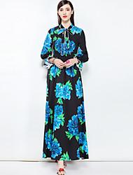 baratos -Mulheres Festa Fofo Boho balanço Longo Vestido,Básico Floral Colarinho Chinês Manga Comprida