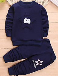 cheap -Boys' Sports Patchwork Clothing Set, Cotton Spring Long Sleeves Casual Navy Blue