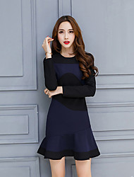 cheap -Women's Daily Holiday Casual Bodycon Knee-length Dress,Patchwork Round Neck Long Sleeve Spring Fall High Waist
