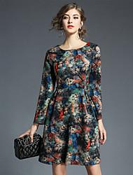 cheap -Women's Party Work Vintage A Line Mini Dress Print Round Neck Long Sleeves Winter Fall High Waist