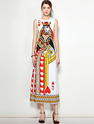 cheap -MARY YAN&YU Women's Party Going out Cute Boho Street chic A Line Dress,Print Round Neck Midi Sleeveless Polyester Spandex Spring Summer Mid Rise