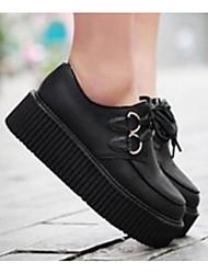 preiswerte -Damen Schuhe PU Frühling Herbst Komfort Outdoor Creepers für Weiß Schwarz