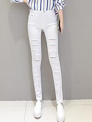 cheap -Women's Retro Cotton Medium Solid Color Legging,Solid Black White
