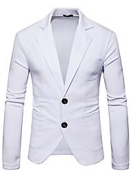 abordables -Hombre Casual Diario Noche Primavera Otoño Regular Blazer, Cuello Camisero Un Color Poliéster