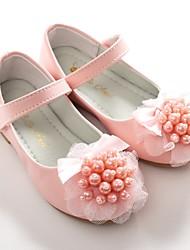 baratos -Para Meninas Sapatos Courino Primavera Verão Sapatos para Daminhas de Honra Bailarina Rasos Laço Pérolas Sintéticas Velcro para Casamento