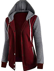 cheap -Men's Daily Going out Casual Color Block Hooded Hoodie Regular,Long Sleeve Winter Fall Polyester