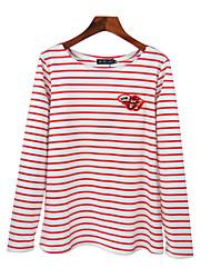 preiswerte -Damen Gestreift T-shirt Bestickt Baumwolle Polyester