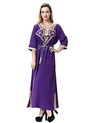 abordables -Femme Grandes Tailles Ample / Balançoire / Jalabiyah Robe - Fendu, Couleur Pleine / Fleur / Jacquard Col en V Midi