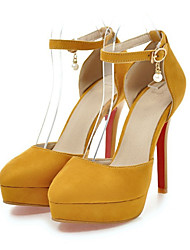 cheap -Women's Shoes Nubuck leather Spring / Summer Comfort / Novelty Heels Wedge Heel Pointed Toe Beading / Buckle Gray / Yellow / Red