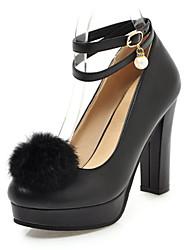 baratos -Mulheres Sapatos Couro Ecológico Primavera Outono Conforto Inovador Saltos Salto Robusto Dedo Apontado Penas Presilha para Casamento