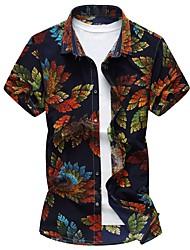 Недорогие -Муж. Рубашка Шинуазери (китайский стиль) Цветочный принт