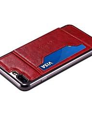 preiswerte -Hülle Für Apple iPhone 8 Plus iPhone 7 Plus Kreditkartenfächer mit Halterung Rückseite Volltonfarbe Hart PU-Leder für iPhone X iPhone 8