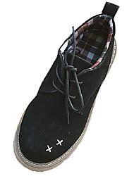 baratos -Mulheres Sapatos Couro Ecológico Primavera / Verão Conforto Oxfords Salto Baixo Ponta Redonda Preto / Bege / Castanho Escuro