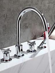 Недорогие -Смеситель для ванны - Современный Хром Ванна и душ Медный клапан