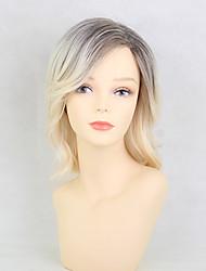 cheap -Natural Wave Layered Haircut Machine Made Human Hair Wigs Side Part Highlighted/Balayage Hair Medium Grey