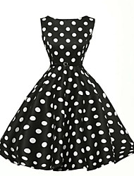 cheap -Women's Party Vintage Plus Size A Line Knee-length Dress,Polka Dot Boat Neck Sleeveless High Rise