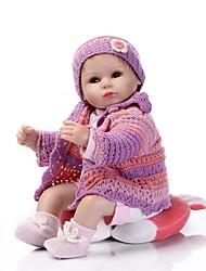 baratos -NPK DOLL Bonecas Reborn Bebê 16 polegada Silicone / Vinil - realista, Cílios aplicados à mão, Nozes vedadas e seladas de Criança Unisexo Dom / CE / Tom de pele natural / Cabeça Floppy