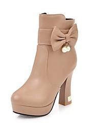 Недорогие -Жен. Обувь Дерматин Зима Модная обувь Ботинки На толстом каблуке Круглый носок Ботинки Бант Белый / Черный / Желтый
