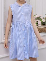 cheap -Girl's Daily Striped Dress, Cotton Summer Sleeveless Simple Light Blue