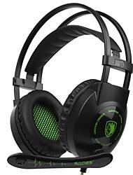 billige -SADES SA-801 Pandebånd Ledning Hovedtelefoner Dynamisk Plast Gaming øretelefon Med Mikrofon Headset