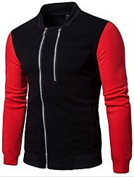 cheap -Men's Cotton Jacket - Color Block / Please choose one size larger according to your normal size. / Long Sleeve