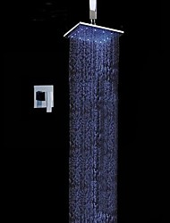 cheap -Contemporary Wall Mounted Rain Shower Handshower Included LED Ceramic Valve Chrome , Shower Faucet