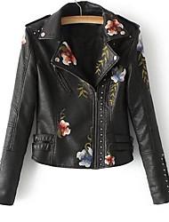 baratos -Mulheres Jaquetas de Couro Para Noite Moda de Rua Gola Peter Pan Estampado