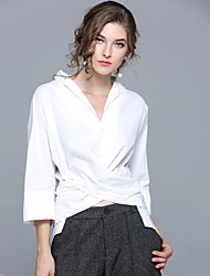 cheap -Women's Work Going out Street chic Cotton Shirt - Solid Colored, Patchwork V Neck