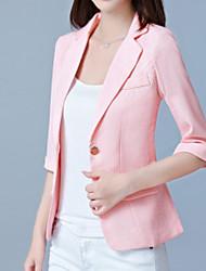 Недорогие -Жен. Офис Куртка V-образный вырез Однотонный Крупногабаритные